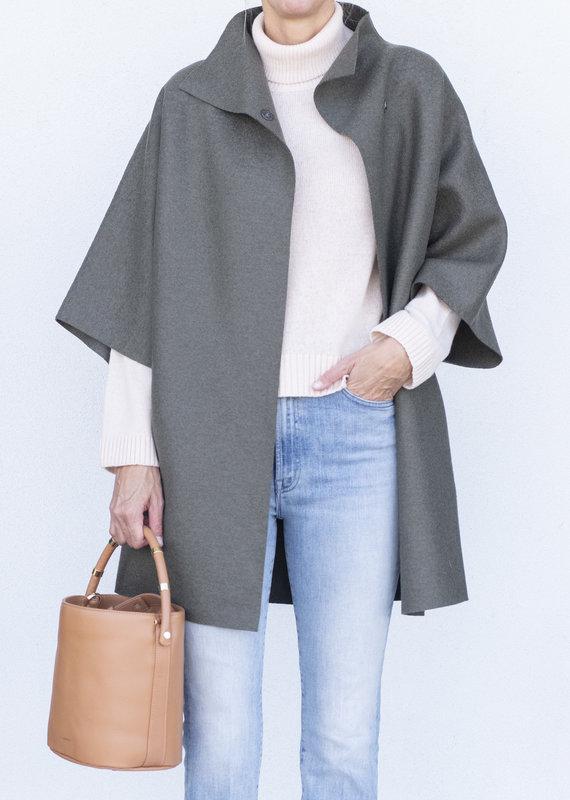 Harris Wharf Kimono Coat-Hunting Green