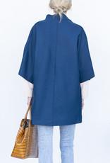 Harris Wharf Kimono Coat-Prussian Blue