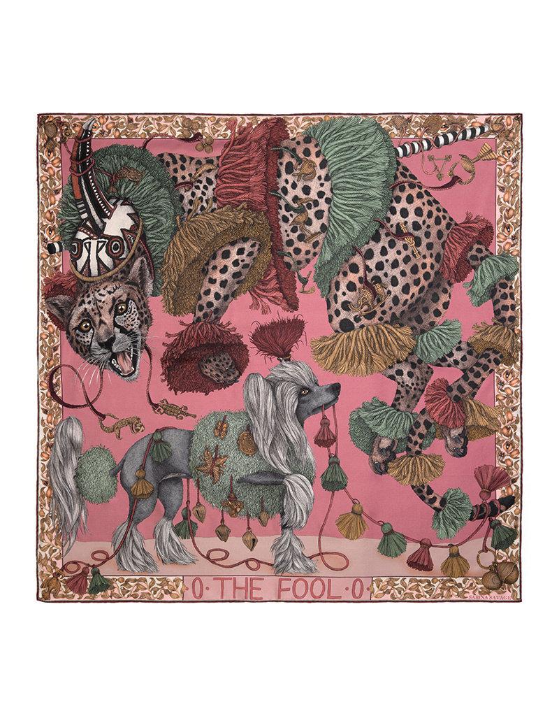 Sabina Savage 90x90 Medium Silk Scarf-The Fool-Leopard with Dogs-Raspberry