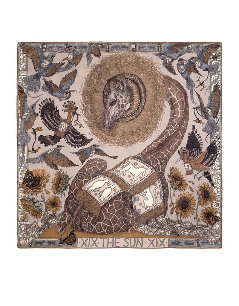 Sabina Savage 90x90 Medium Silk Scarf-The Sun-Sunflower-Bone