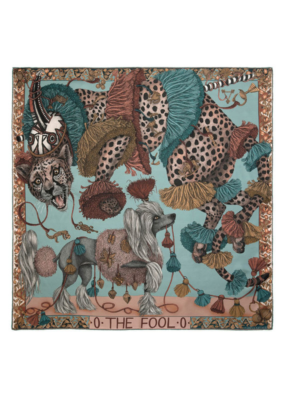 Sabina Savage 90x90 Medium Silk Scarf-The Fool-Leopard with Dogs-Green