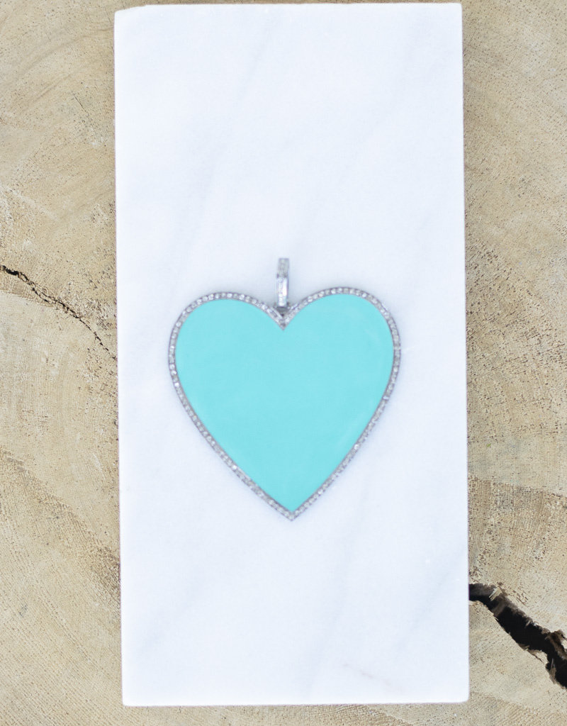 The Woods Fine Jewelry Big Heart  Silver/Turquoise