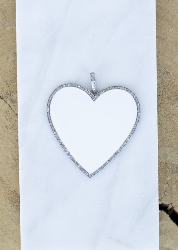 The Woods Fine Jewelry Big Heart  Silver/White