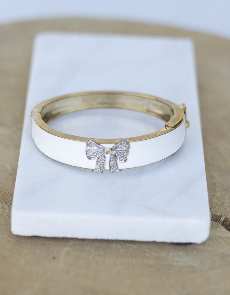 The Woods Fine Jewelry Bow Bangle- White