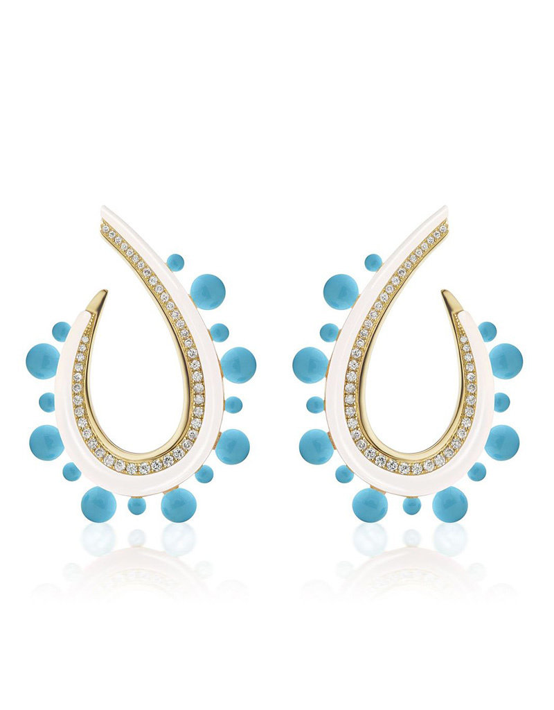 Sorellina Crescent Ball Earring- White Onyx and Turquoise