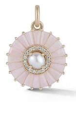 Storrow Large Circle Charm- Pink Opal