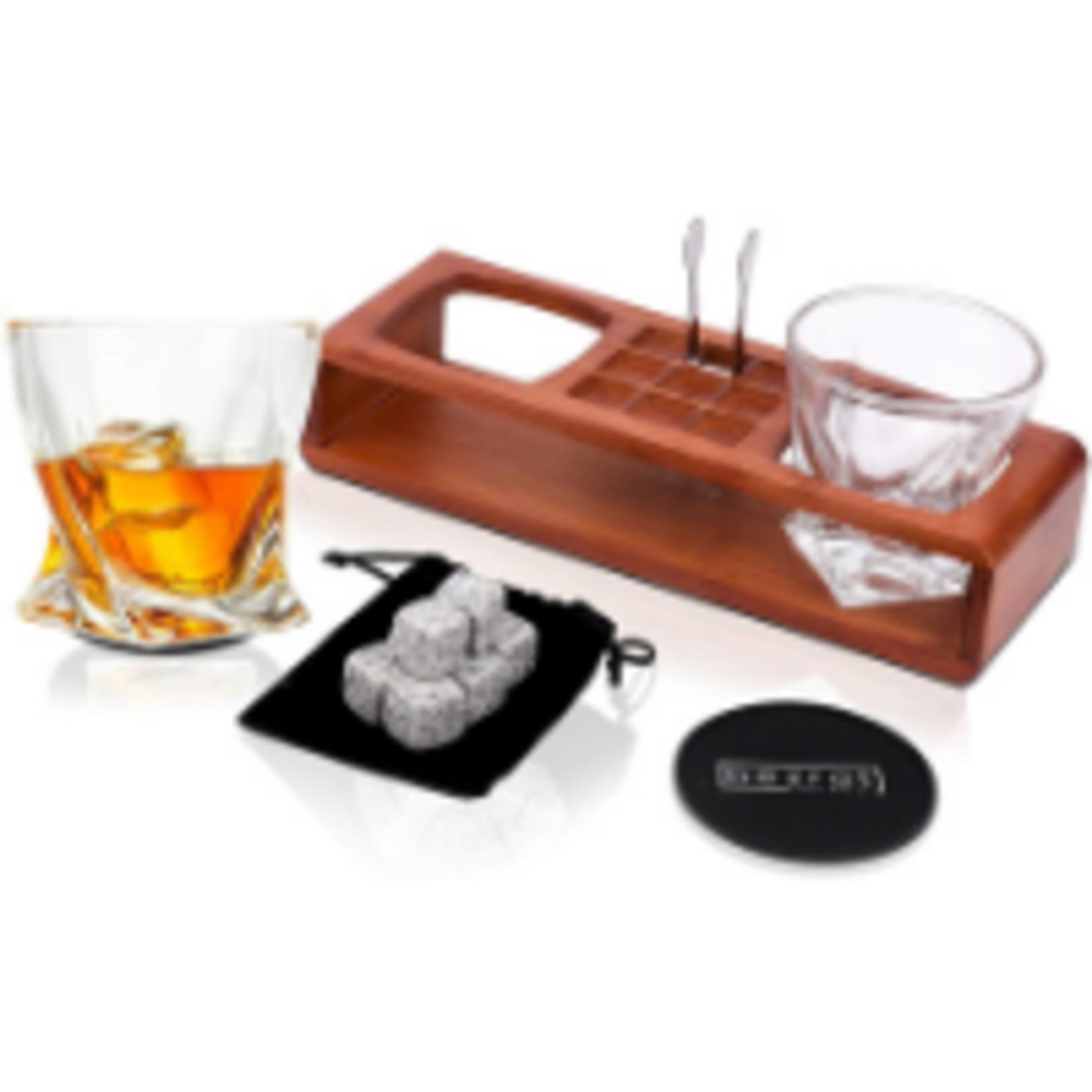 Bezrat Whiskey Glass Wood Stand Set