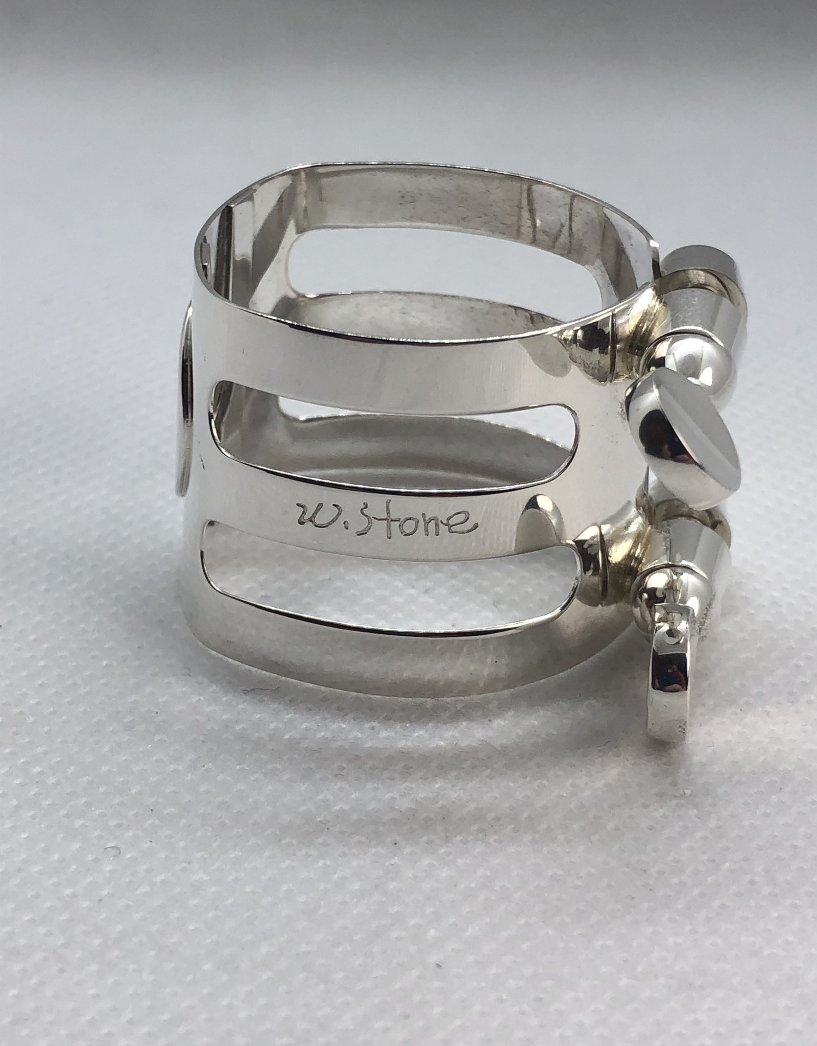 Ishimori Wood Stone Tenor Saxophone Metal Ligature for Selmer Rubber Mouthpiece Solid Silver