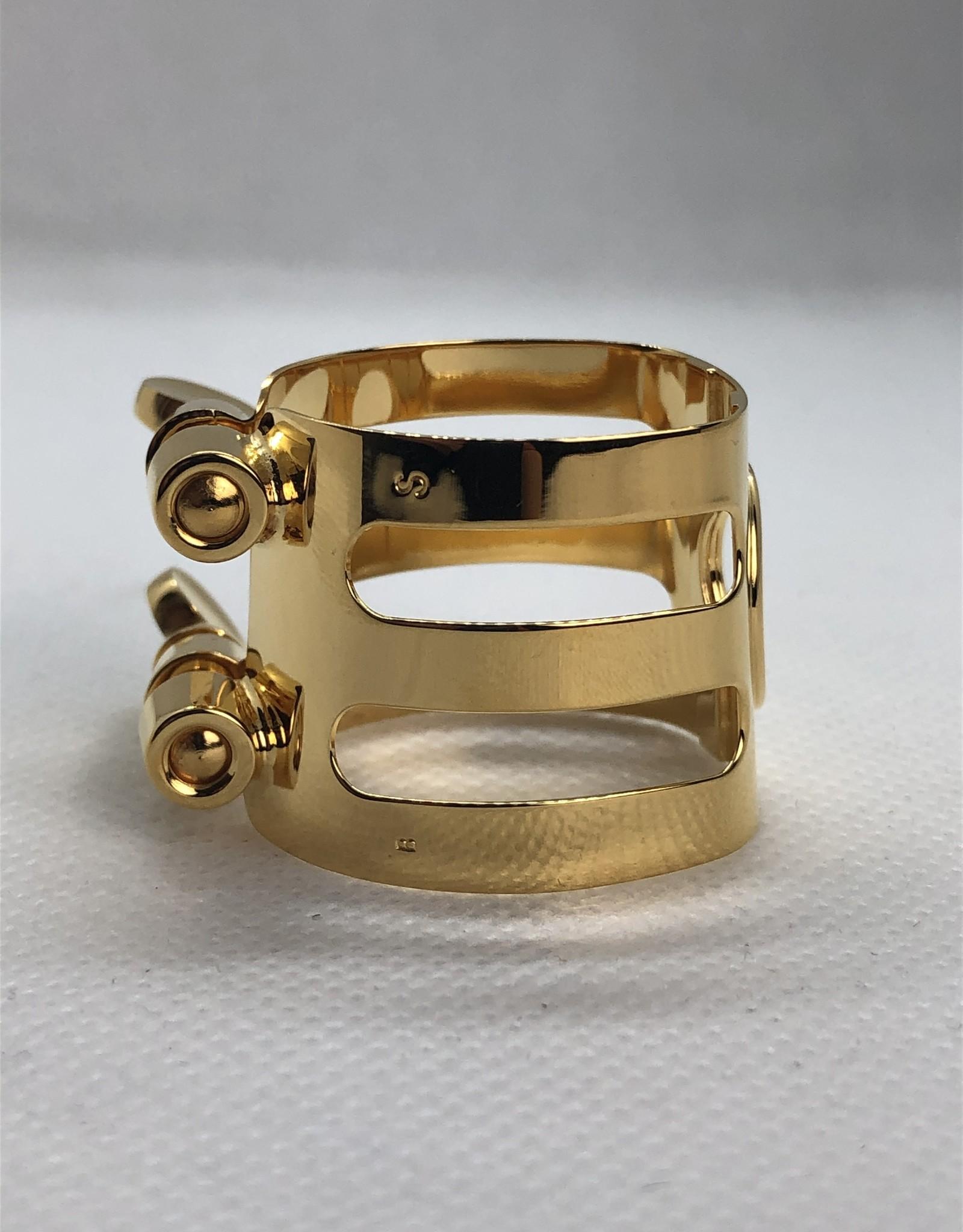 Ishimori Wood Stone Alto Saxophone Metal Ligature for Selmer Rubber Mouthpiece Gold Plated
