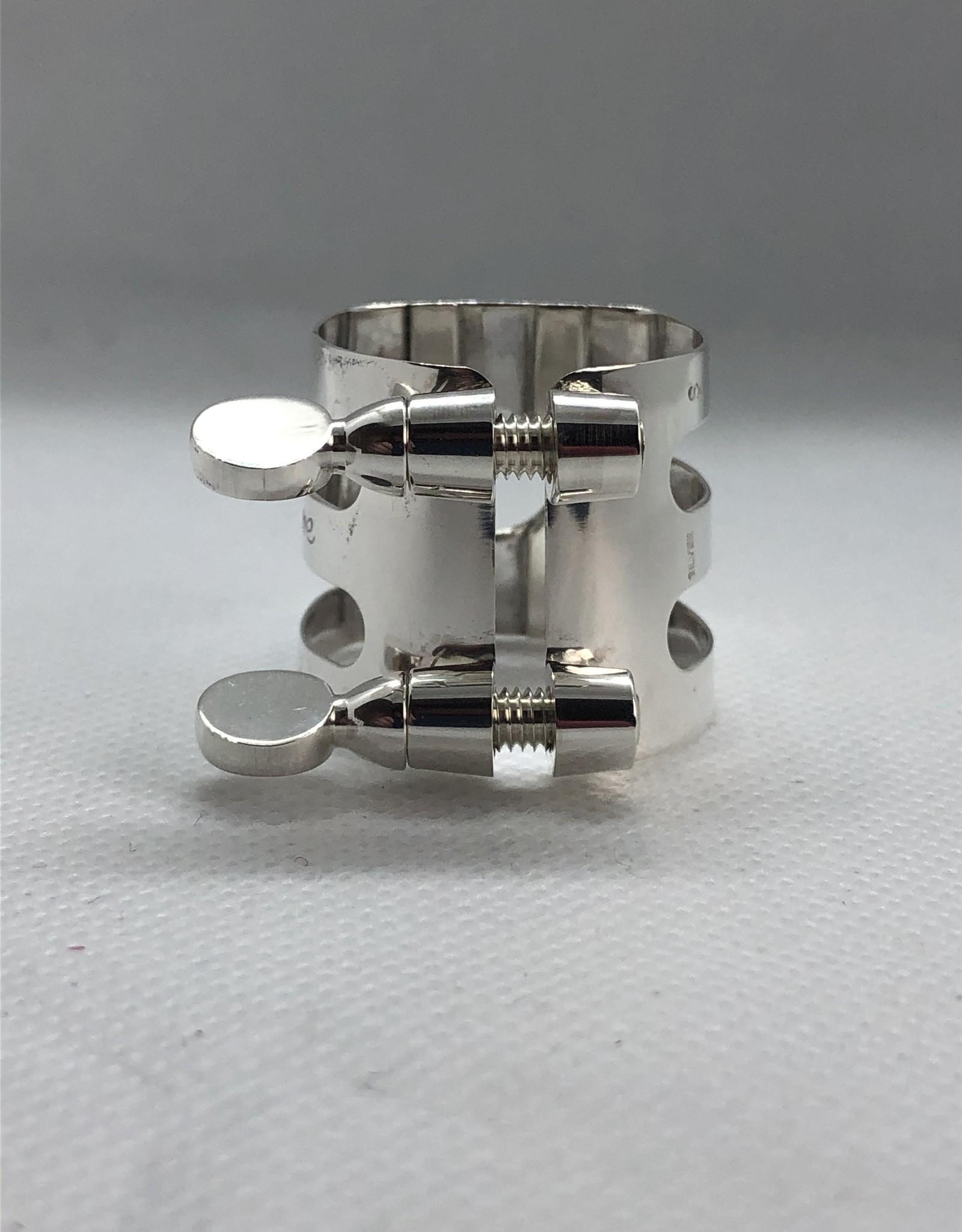 Ishimori Wood Stone Alto Saxophone Metal Ligature for Selmer Rubber Mouthpiece Solid Silver