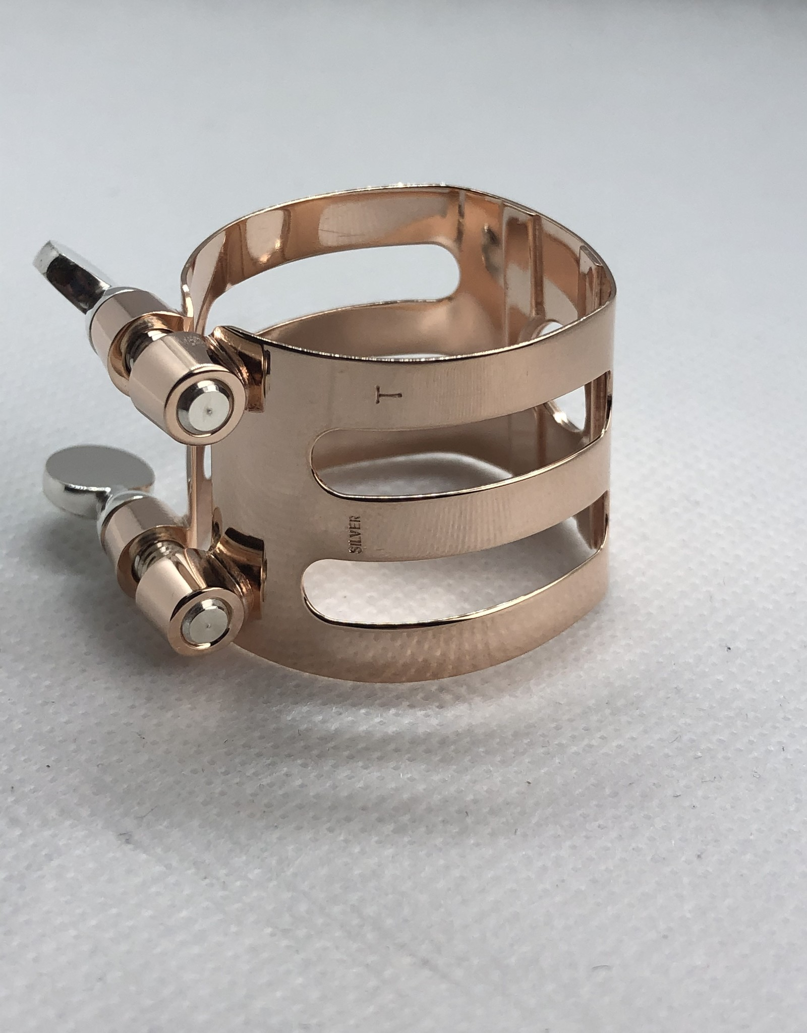Ishimori Wood Stone Tenor Saxophone Metal Ligature for Selmer Rubber Mouthpiece Solid Silver with Pink Gold Plate