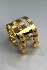 Ishimori Wood Stone Tenor Saxophone Metal Ligature for Selmer Rubber Mouthpiece Gold Plated