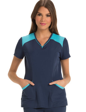 HEART SOUL NAVY AND SKY BLUE LARGE HEART SOUL WOMEN'S TOP HS652