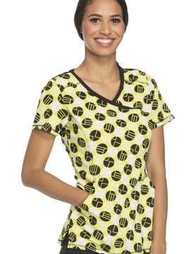 CHEROKEE Dots Women's Mock Wrap Top XXS 2628A