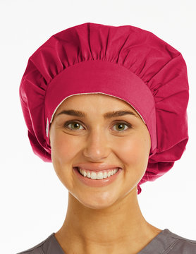 SCRUB HATS Women's Bouffant Scrub Hats NC020 Rose Pink