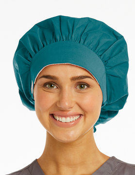 Caribbean Blue Ladies' Bouffant Scrub Hat