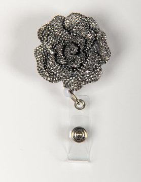 BADGE REELS Silver Rose Badge Reels