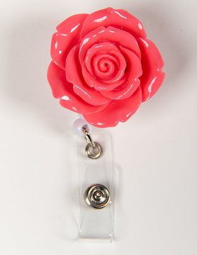 BADGE REELS Plain Pink Rose Badge Reels