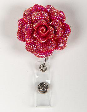 BADGE REELS Pink/Silver Rose Badge Reels