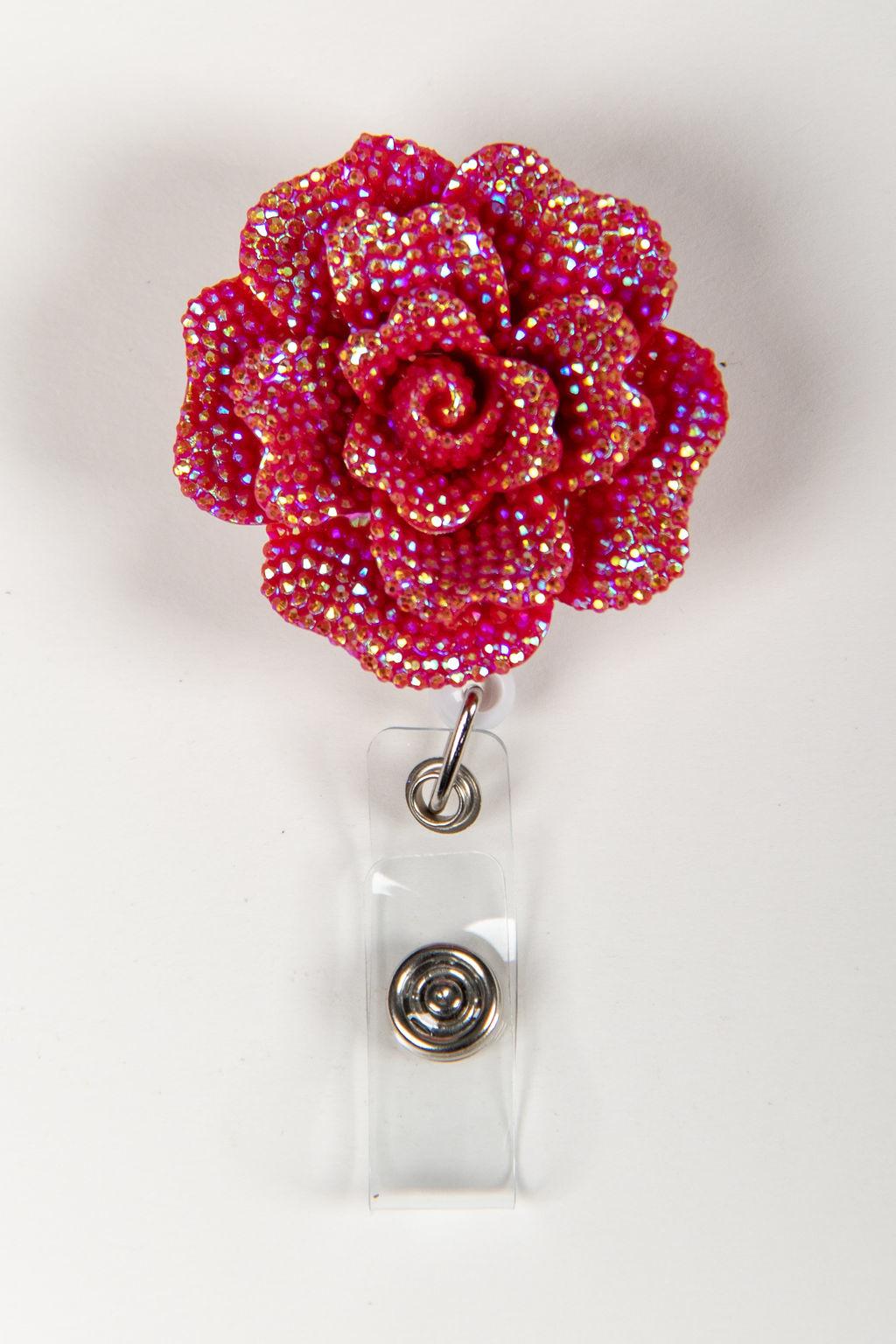 Pink/Silver Rose Badge Reels