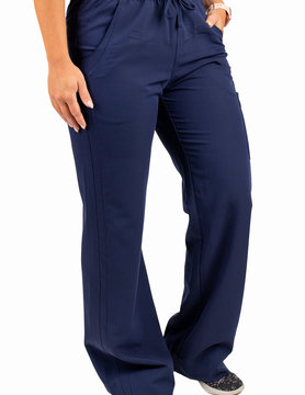 EXCEL Navy Blue Women's Drawstring Waistband Fitted Pants 960