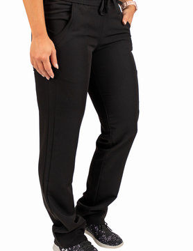 EXCEL Black Women's Drawstring Waistband Fitted Pants 960