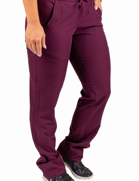 EXCEL Burgundy Women's Drawstring Waistband Fitted Pants 960