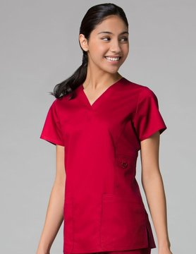 EON Red V-Neck Patch Pocket Women's Top 1708