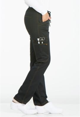 DICKIES Black Mid Rise Straight Leg Women's Drawstring Pants DK106