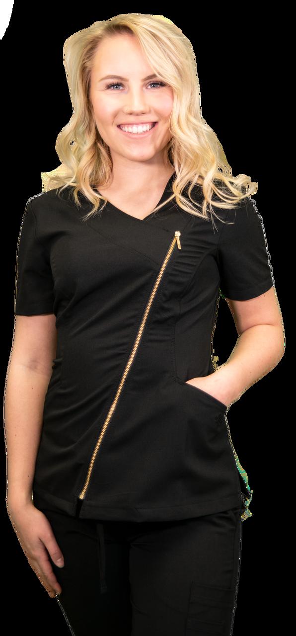 Black Asymmetrical Full Length Bronze Zipper Women's Top 575 2XL DR21B