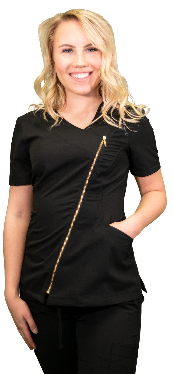 Black Asymmetrical Full Length Bronze Zipper Women's Top 575 2XL DR21B
