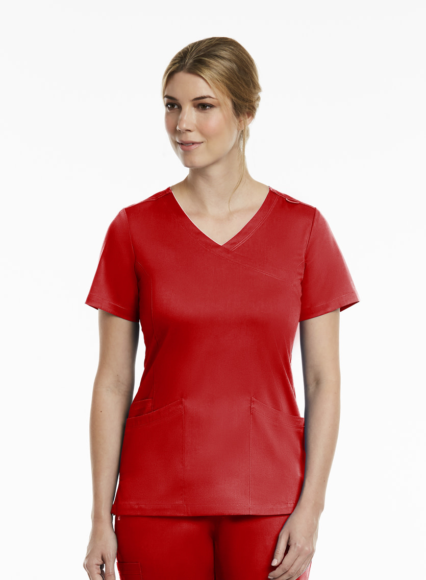 Matrix Red Curved Women's Mock Wrap Top 3701