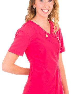Excel Geranium Asymmetrical Full Length Zipper Women's Scrub Top 575
