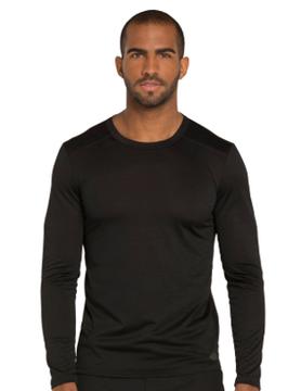 CHEROKEE Cherokee Black Men's Long Sleeve Underscrub Shirt DK910