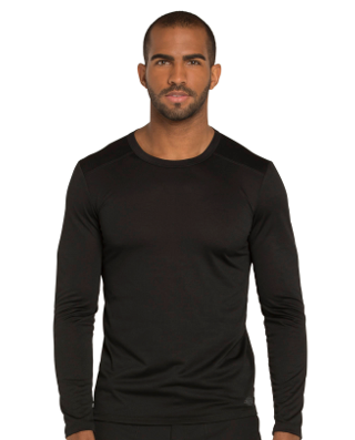 CHEROKEE Black Men's Long Sleeve Underscrub Shirt DK910