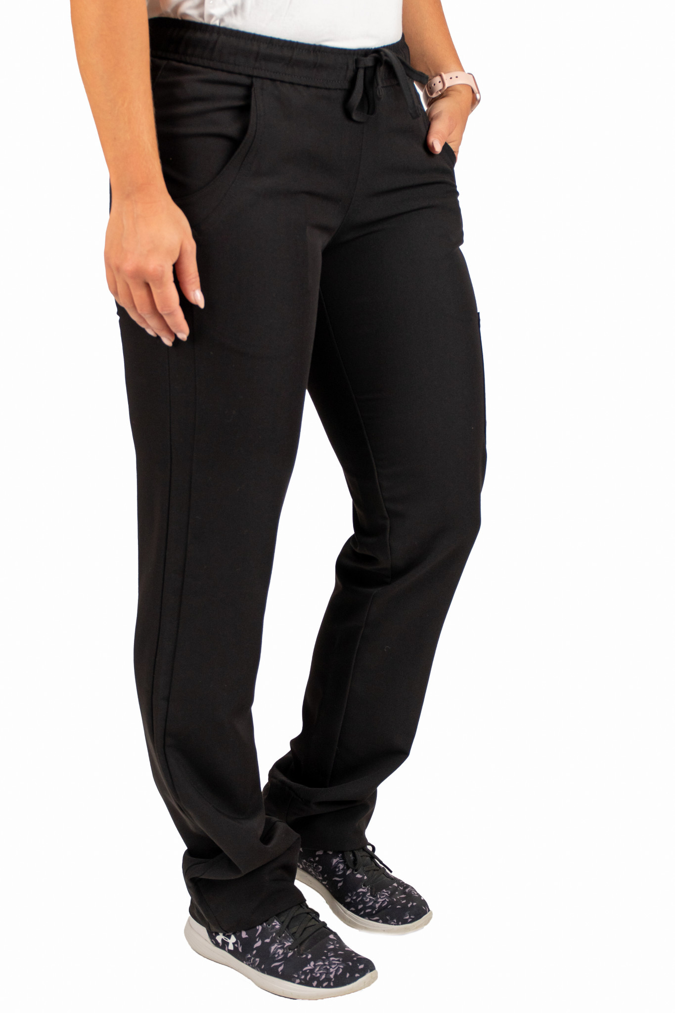 Black Women's Drawstring Waistband Fitted Pants 960