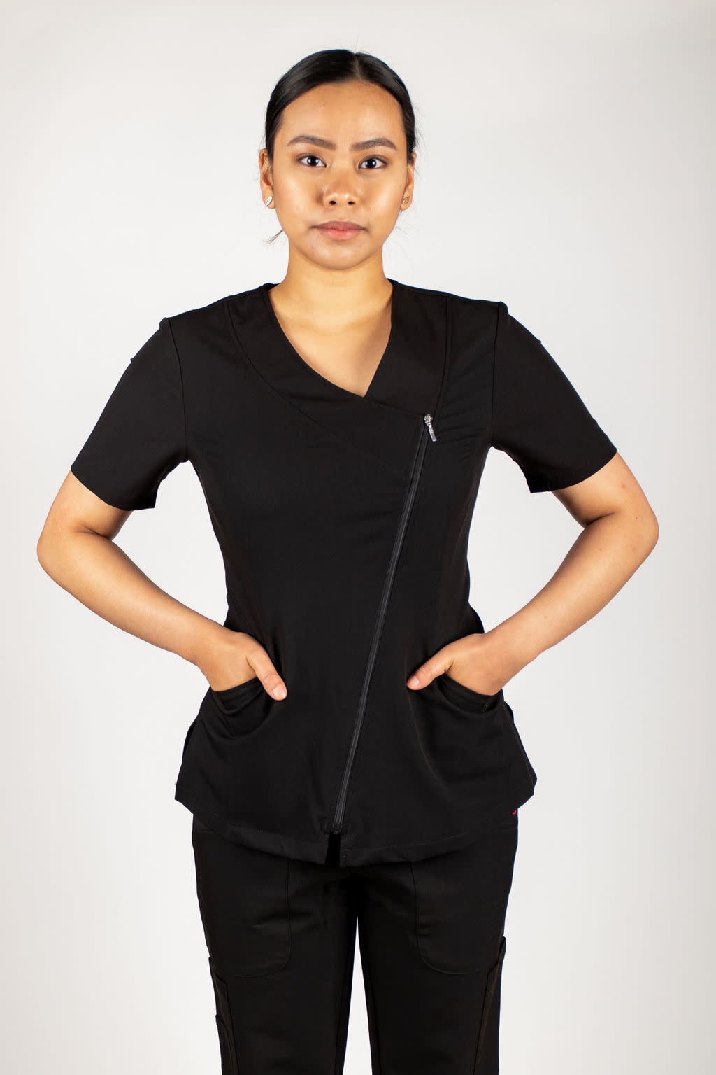 Black Asymmetrical Full Length Zipper Women's Top 575