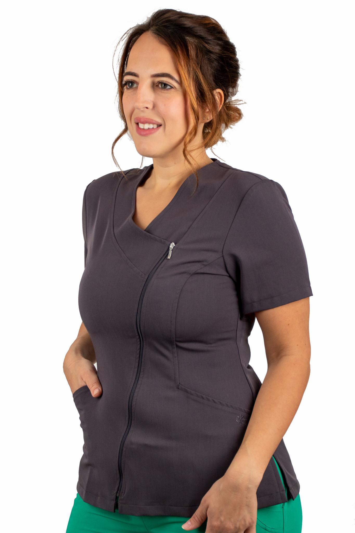 Carbon Asymmetrical Full Length Zipper Women's Top 575
