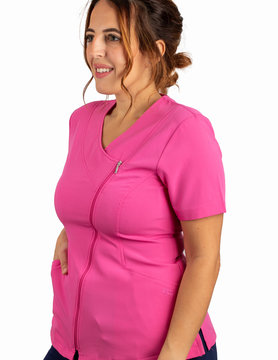 Fushia Asymmetrical Full Length Zipper Women's Top 575