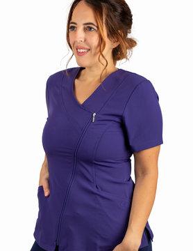Grape Asymmetrical Full Length Zipper Women's Top 575