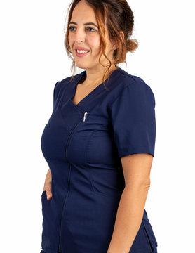 Navy Blue Asymmetrical Full Length Zipper Women's Top 575