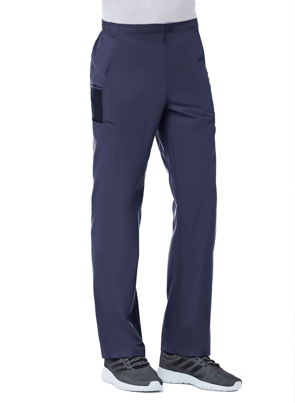 Navy Blue Men's Half Elastic 8-Pocket Tall Cargo Pants 8308T