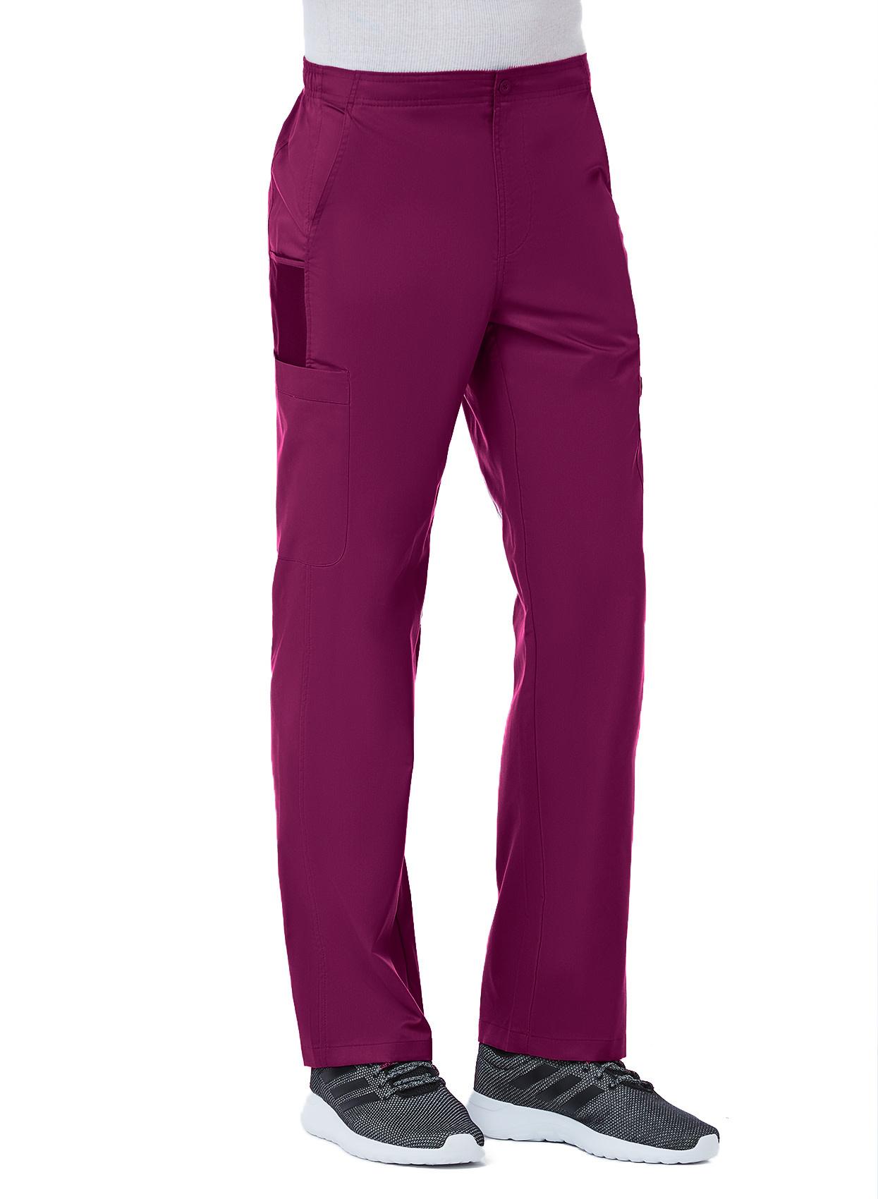 Wine Men's Half Elastic 8-Pocket Tall Cargo Pants 8308T