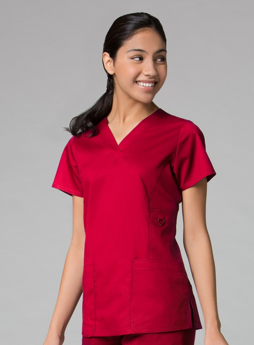 Red V-Neck Patch Pocket Women's Top 1708