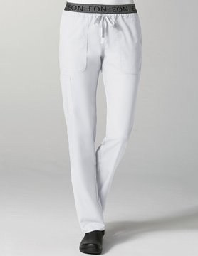 White Embroidered Logo Waistband 7-Pocket Cargo Women's Pant 7348