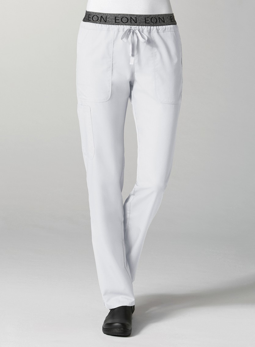 White Embroidered Logo Waistband 7-Pocket Cargo Women's Pant 7348