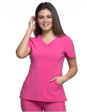 CHEROKEE Cherokee Infinity Pink Women's Mock Wrap Scrub Top 2625A