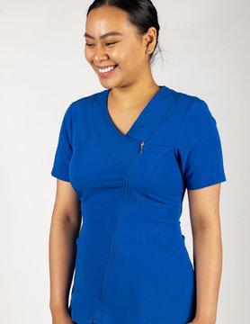 Royal Blue Asymmetrical Full Length Zipper Women's Top 575
