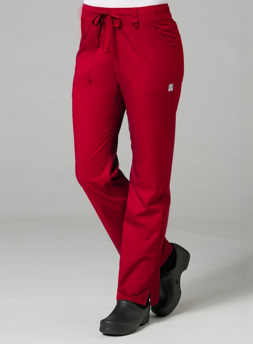 Red Full Elastic Cargo Women's Pants 7308