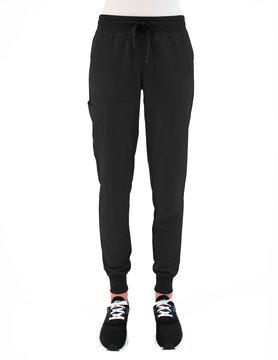 MATRIX IMPULSE Matrix Impulse Black Yoga Waistband Petite Women's Jogger Scrub Pants 8520P